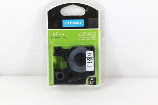 "New Dymo 45113 D1 Cassette Black on White Label Tape 1/2"" x 23'"