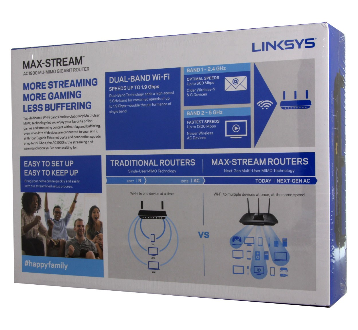 Linksys MAX-STREAM AC1900 Next Gen AC MU-MIMO Smart Wi-Fi Router (EA7500)